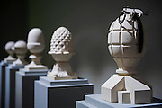 Five Finials by Ian Hamilton Finlay - Frieze Masters 2014 - including a huge range of works from religious relics, through old masters to contemporary art with prices upto millions of pounds. Regents Park, London, 14 Oct 2014.