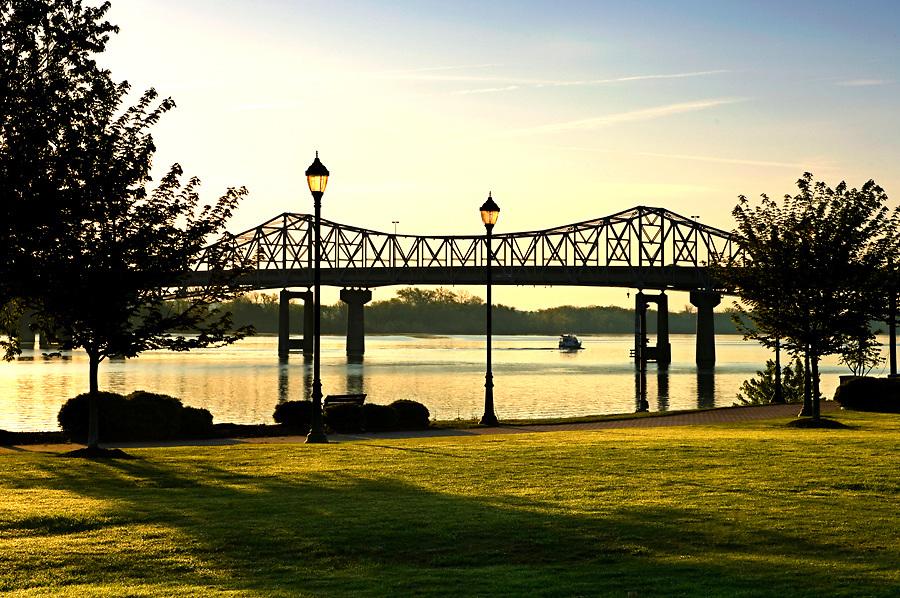 Rhodes Ferry Park at sunrise provides beautiful views of the 'Steamboat Bill' Memorial Bridge.