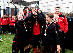 The winners of the BCCT EFL Kids Cup celebrate with the trophy - Mandatory by-line: Robbie Stephenson/JMP - 23/11/2016 - FOOTBALL - South Bristol Sports Centre - Bristol, England - BCCT EFL Kids Cup