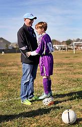 24 January 2016. Houma, Louisiana. <br /> Patrick and Paddy before the kick off. New Orleans Jesters Youth Academy U10 Purple vs Lafourche Legacy U11's. Jesters win 7-0. <br /> Photo©; Charlie Varley/varleypix.com