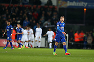 Jamie Vardy of Leicester city looks on dejected as Swansea city players celebrate after their 2nd goal , Premier league match, Swansea city v Leicester City at the Liberty Stadium in Swansea, South Wales on Sunday 12th February 2017.<br /> pic by Andrew Orchard, Andrew Orchard sports photography.