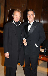 Left to right, Singer STING and SIMON ASTAIR at the Conde Nast Traveller magazine Tsunami Appeal Dinner at the Four Seasons Hotel, Hamilton Place, London W1 on 2nd March 2005.<br /><br />NON EXCLUSIVE - WORLD RIGHTS