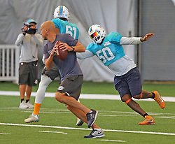 August 28, 2017 - USA - Miami Dolphins defensive end Andre Branch (50) during a drill on Monday, Aug. 28, 2017 at the Miami Dolphins training facility in Davie, Fla. (Credit Image: © Charles Trainor Jr/TNS via ZUMA Wire)