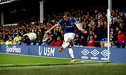 """Everton's Leighton Baines during the Carabao Cup, third round match at Goodison Park, Liverpool. PRESS ASSOCIATION Photo. Picture date:  Tuesday October 2, 2018. See PA story SOCCER Everton. Photo credit should read: Peter Byrne/PA Wire. RESTRICTIONS: EDITORIAL USE ONLY No use with unauthorised audio, video, data, fixture lists, club/league logos or """"live"""" services. Online in-match use limited to 120 images, no video emulation. No use in betting, games or single club/league/player publications"""