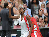 Tennis - 2017 Wimbledon Championships - Week Two, Tuesday [Day Eight]<br /> <br /> Women's Singles, Quarter Final match<br /> <br /> Venus Williams (USA) vs.Jelena Ostapenko (LAT)<br /> <br /> Venus Williams waves to the crowd after the match on  Centre Court <br /> <br /> COLORSPORT/ANDREW COWIE