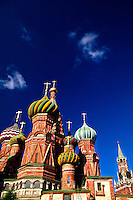 St. Basil's Cathedral (Savior Tower of the Kremlin on right), Red Square, Moscow, Russia