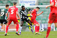 Plymouth Argyles Hiram Boateng and York City's Michael Coulsonduring the Sky Bet League 2 match between Plymouth Argyle and York City at Home Park, Plymouth, England on 28 March 2016. Photo by Graham Hunt.
