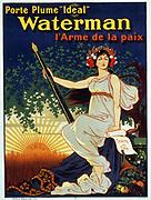 Porte plume 'Ideal' Waterman l'arme de la paix. A woman holding a giant fountain pen. (poster), lithograph, Paris Signed: Ogé. 1896. Translation of title: Carry the 'Ideal' Waterman pen, the weapon of peace.