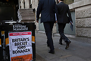 Free Evening Standard newspaper headline about Brexit in the City of London, England, United Kingdom.