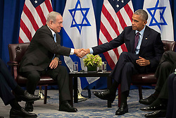 """(L to R) Prime Minister of Israel Benjamin Netanyahu shakes hands with U.S. President Barack Obama during a bilateral meeting at the Lotte New York Palace Hotel, September 21, 2016 in New York City. Last week, Israel and the United States agreed to a $38 billion, 10-year aid package for Israel. Obama is expected to discuss the need for a """"two-state solution"""" for the Israeli-Palestinian conflict. Photo by Drew Angerer/Pool/ABACAPRESS.COM"""