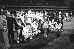 File photo dated 23-05-1984 of The Tottenham Hotspur team with the UEFA Cup trophy at White Hart Lane in London, when they won against Anderlecht after extra time in the UEFA Cup Final second leg.