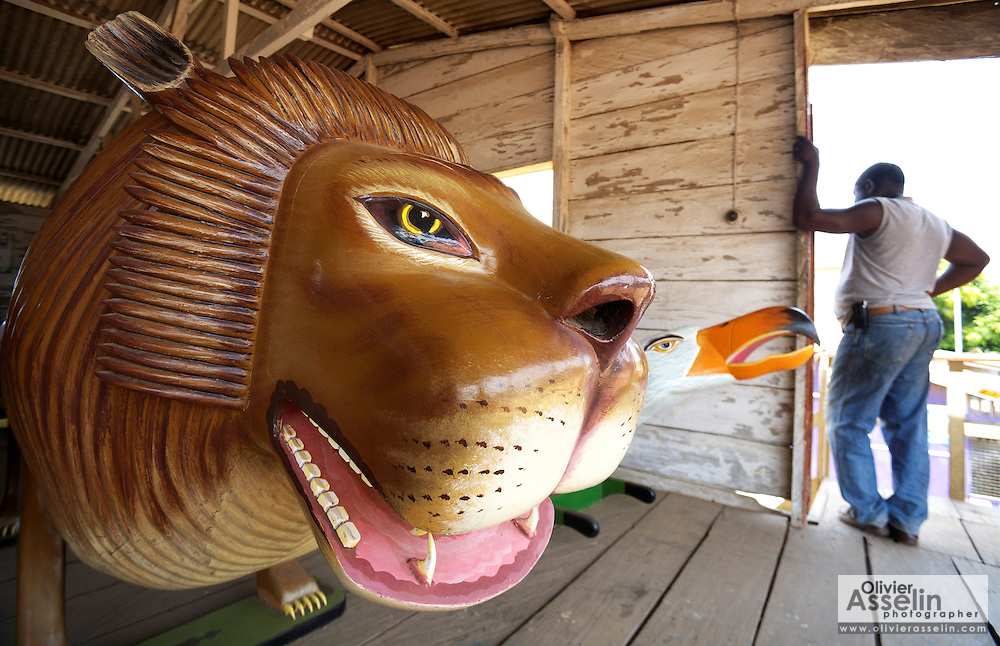 Lion-shaped coffin at Paa Joe's coffin shop in Teshie, outside Accra, Ghana on Friday June 26, 2009.