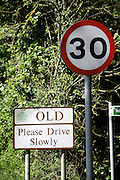 Road sign for the village of Old, Northamptonshire