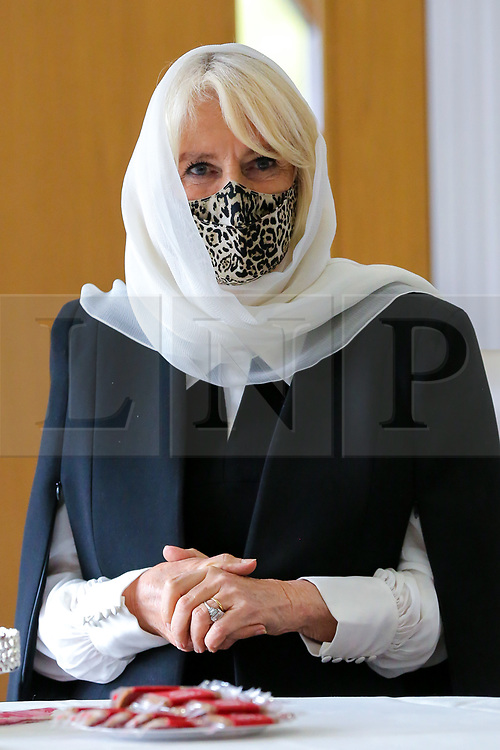 © Licensed to London News Pictures. 07/04/2021. London, UK. Camilla, Duchess of Cornwall wearing a protective face covering and a headscarf during a visit to the London Islamic Cultural Society and Mosque (also known as Wightman Road Mosque) in Haringey, north London. The Mosque was formed by a small group of Guyanese Muslims and now supports over 30 different nationalities and community in Haringey and surrounding boroughs. Photo credit: Dinendra Haria/LNP