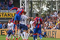 Football - 2021/2022  Premier League - Crystal Palace vs Tottenham Hotspur - Selhurst Park  - Saturday 11th September 2021.<br /> <br /> Christian Benteke (Crystal Palace) outjumps Joe Rodon (Tottenham Hotspur) from the corner at Selhurst Park.<br /> <br /> COLORSPORT/DANIEL BEARHAM