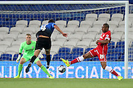 Dan Gosling of Bournemouth scores his side's first goal. Capital One Cup, 3rd round match, Cardiff City v AFC Bournemouth at the Cardiff City stadium in Cardiff, South Wales on Tuesday 23rd Sept 2014<br /> pic by Mark Hawkins, Andrew Orchard sports photography.