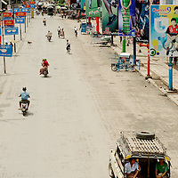 Empty avenue at downtown Mandalay