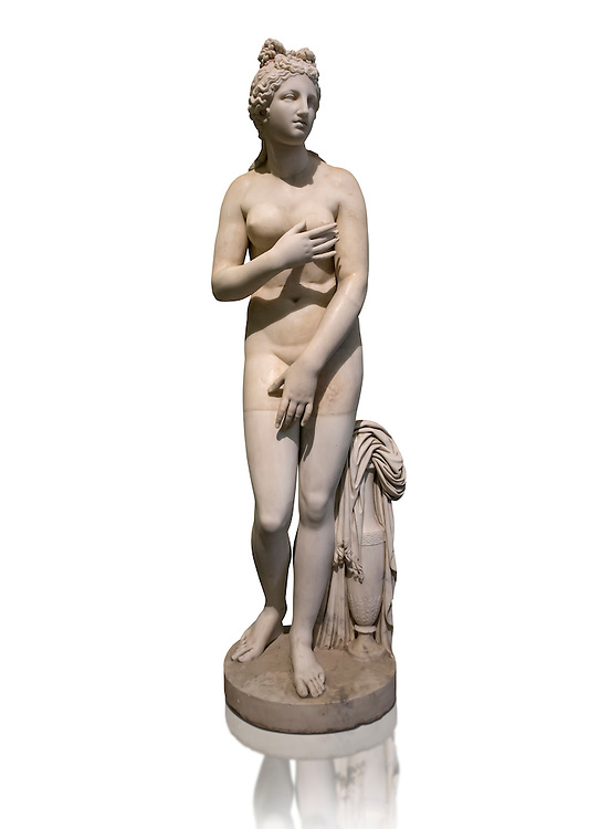 Statue of Aphrodite, a 2nd century Roman Copy. This sculpture depicts Aphrodite in the typical pose known as the Modest Aphrodite style or Dresden-Capitoline type and is a copy of a lost 4th century BC Aphrodite of Cnidos sculpture by Athenian sculpture Praxiteles. Naples National Archaeological Museum, Italy