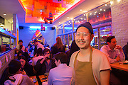 New York, NY - 11 February 2014. Danny Bowien in the dining room of his Mission Cantina.