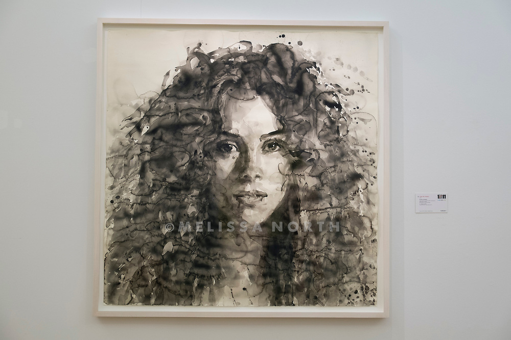 YAN PEI-MING -<br /> PORTRAIT OF SHAKIRA. From 'The Art of Football' highlights from celebrated artists due to be auctioned on 12th February 2015, donated in support of the 1 in 11 Campaign by FC Barcelona, Reach Out to Asia (ROTA) and UNICEF, at Sotheby's, London, UK on 6th February 2015.