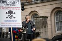 Piers Corbyn speeking to Anti-lockdown activists demonstrating against coronavirus restrictions lDowning Street London 10th oct 2020 photo Brian Jordan