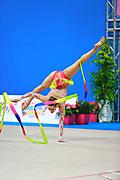 Gamalejeva Jelizaveta during qualifying at ribbon in Pesaro World Cup 11 April 2015. Jelizaveta is a Latvian rhythmic gymnastics athlete born on March 22, 1994 in Riga.
