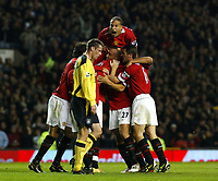 Manchester United v Liverpool Premier League 20/09/04 2-1<br />Mikael Silvestre celerates second goal with Rio Ferdinand making his return from suspension<br />Photo Martyn Harrison / Fotosports International