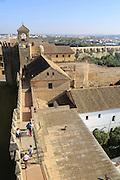 View to Roman bridge and river Rio Guadalquivir from Alcazar, Cordoba, Spain - Alcázar de los Reyes Cristianos