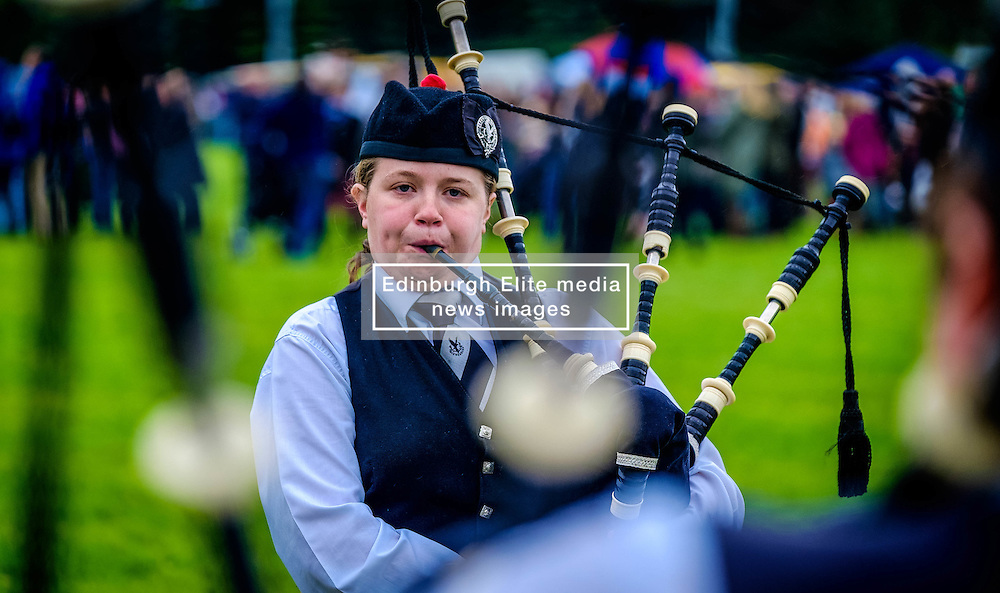 Peebles, Scotland UK  3rd September 2016. Peebles Highland Games, the biggest 'highland' games in the Scottish  Borders took place in Peebles on September 3rd 2016 featuring pipe band contests, highland dancing competitions, haggis hurling, hammer throwing, stone throwing and other traditional events.<br /> <br /> Pictured:  a piper warms up before the competition<br /> <br /> (c) Andrew Wilson   Edinburgh Elite media