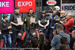 The (Dave) Perewitz Custom Bike Show awards ceremony at Motor Bike Expo. Verona, Italy. January 24, 2016.  Photography ©2016 Michael Lichter.