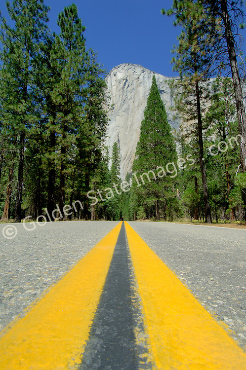 El Capitan and the road out of the park.