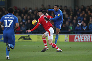 AFC Wimbledon defender Terell Thomas (6) battles for possession during the EFL Sky Bet League 1 match between AFC Wimbledon and Barnsley at the Cherry Red Records Stadium, Kingston, England on 19 January 2019.