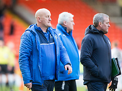 Morton's manager Jim Duffy at the end. Dundee United 1 v 1 Morton, Scottish Championship game played 25/2/2017 at Tannadice Park.