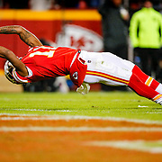 KANSAS CITY, MO - DECEMBER 01: Demarcus Robinson #11 of the Kansas City Chiefs stretches across the goal line in the third quarter against the Oakland Raiders at Arrowhead Stadium on December 1, 2019 in Kansas City, Missouri. (Photo by David Eulitt/Getty Images)