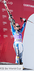 19.01.2013, Olympia delle Tofane, Cortina d Ampezzo, ITA, FIS Weltcup Ski Alpin, Abfahrt, Damen, Podium, im Bild Leanne Smith (USA, Platz 3) // 3th place Leanne Smith of the USA celebrate on podium during ladies Downhill of the FIS Ski Alpine World Cup at the Olympia delle Tofane course, Cortina d Ampezzo, Italy on 2013/01/19. EXPA Pictures © 2013, PhotoCredit: EXPA/ Johann Groder