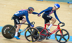 January 27, 2019 - Hong Kong, Hong Kong SAR, China - Team USA in the Mens Madison Final.UCI Track Cycling World Cup Hong Kong 2019, Qualifiers Leg VI at the Hong Kong Velodrome in Tseung Kwan O ,Kowloon (Credit Image: © Jayne Russell/ZUMA Wire)