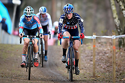 February 9, 2019 - Lille, BELGIUM - Belgian Laura Verdonschot and US Katie Compton pictured in action during the women's elite race of the Krawatencross cyclocross in Lille, the eighth and last stage in the DVV Trofee Cyclocross competition, Saturday 09 February 2019. BELGA PHOTO DAVID STOCKMAN (Credit Image: © David Stockman/Belga via ZUMA Press)
