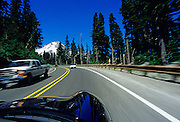 Driving the Mount Hood Scenic Byway with Mount Hood in the background, Oregon, Pacific Northwest by Andrea Wells