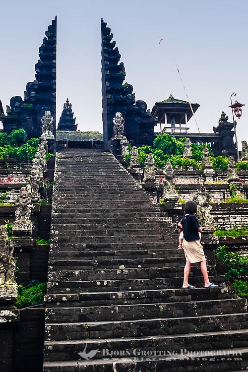 Bali, Karangasem, Besakih. The Mother Temple of Besakih, or Pura Besakih. A stairway leads up to a split gate.