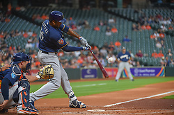 March 26, 2018 - Houston, TX, U.S. - HOUSTON, TX - MARCH 26: Milwaukee Brewers outfielder Domingo Santana (16) makes solid contact during the game between the Milwaukee Brewers and Houston Astros at Minute Maid Park on March 26, 2018 in Houston, Texas. (Photo by Ken Murray/Icon Sportswire) (Credit Image: © Ken Murray/Icon SMI via ZUMA Press)