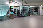 Pods robot driverless transport tram system at Terminal Five, Heathrow airport, London, England, UK
