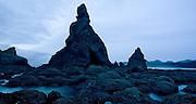 Sea stacks and rocky shore at Shi Shi Beach, Olympic National Park, Washington.