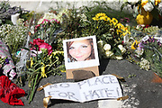 during a large vigil for Heather Heyer Sunday night at 4th Street SE and Water Street in Charlottesville, Va. Heyer was killed and 19 others injured when a car intentionally ran through a crowd of counter protestors after the Unite The Right rally. Photo/Andrew Shurtleff/The Daily Progress