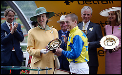 Princess Anne Presents the King George VI Trophy to winning jockey Johnny Murtagh at <br /> Ascot Racecourse, Ascot, United Kingdom<br /> Saturday, 27th July 2013<br /> Picture by Andrew Parsons / i-Images