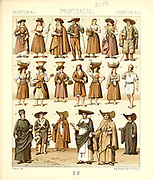 Ancient Portuguese fashion and lifestyle, 18th century from Geschichte des kostums in chronologischer entwicklung (History of the costume in chronological development) by Racinet, A. (Auguste), 1825-1893. and Rosenberg, Adolf, 1850-1906, Volume 5 printed in Berlin in 1888