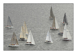 Sailing - The 2007 Bell Lawrie Scottish Series hosted by the Clyde Cruising Club, Tarbert, Loch Fyne..Brilliant first days conditions for racing across the three fleets...Aerial image of Graham Technology fleet Class 3 start...