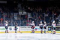 KELOWNA, BC - FEBRUARY 17: The Kelowna Rockets take part in a pre-game ritual with the Pepsi player against the Calgary Hitmen at Prospera Place on February 17, 2020 in Kelowna, Canada. (Photo by Marissa Baecker/Shoot the Breeze)