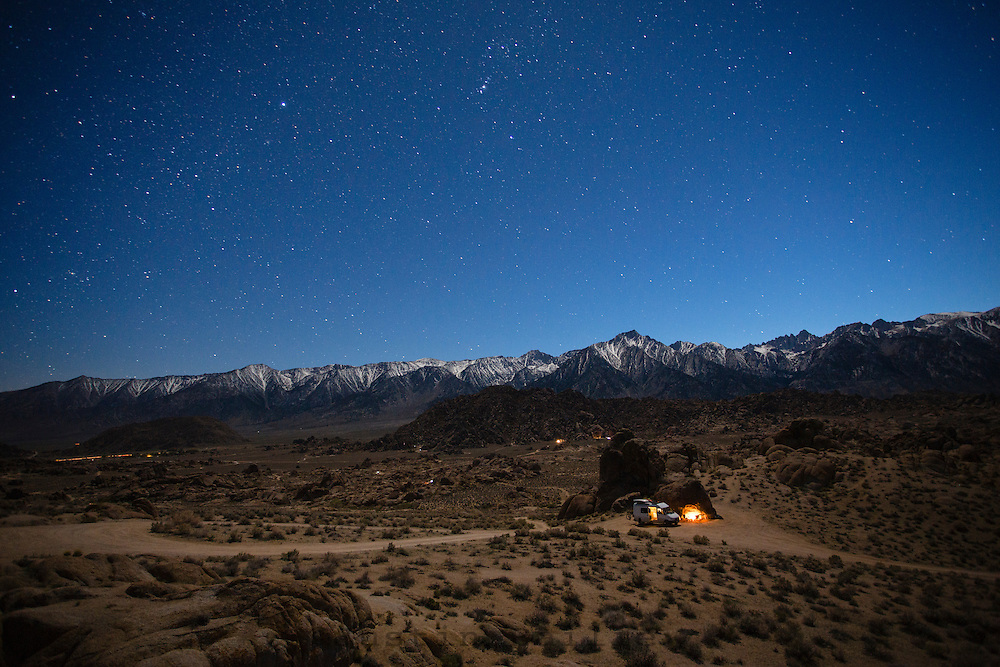 Twilight sets over the Alabama Hills and our van campsite for the night.