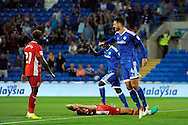 Cardiff City's Sean Morrison (r) celebrates Blackburn's second own goal by Shane Duffy (on ground). EFL Skybet championship match, Cardiff city v Blackburn Rovers at the Cardiff city stadium in Cardiff, South Wales on Wednesday 17th August 2016.<br /> pic by Carl Robertson, Andrew Orchard sports photography.