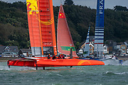 SailGP Team China chases Team France around the top mark in race three. 2Race Day. Event 4 Season 1 SailGP event in Cowes, Isle of Wight, England, United Kingdom. 11 August 2019: Photo Chris Cameron for SailGP. Handout image supplied by SailGP